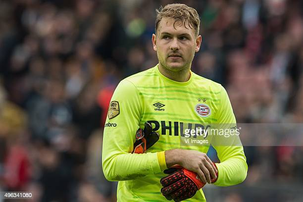 goalkeeper Jeroen Zoet of PSV during the Dutch Eredivisie match between PSV Eindhoven and FC Utrecht at the Phillips stadium on November 8 2015 in...