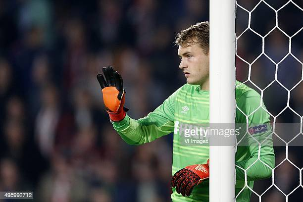 Goalkeeper Jeroen Zoet of PSV during the UEFA Champions League match between PSV Eindhoven and VfL Wolfsburg on November 3 2015 in Eindhoven The...