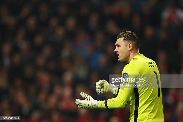 Goalkeeper Jeroen Zoet of PSV in action during the Eredivisie match between Ajax Amsterdam and PSV Eindhoven held at Amsterdam Arena on December 18...