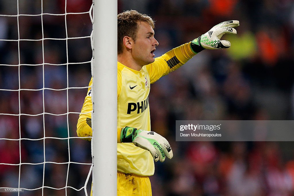 Goalkeeper, Jeroen Zoet of PSV in action during the UEFA Champions League Play-off First Leg match between PSV Eindhoven and AC Milan at PSV Stadion on August 20, 2013 in Eindhoven, Netherlands.
