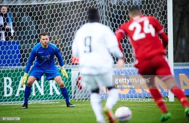 Goalkeeper Jesper Christiansen of Vendsyssel FF in action during the Danish cup DBU Pokalen semfinal match between Vendsyssel FF and FC Copenhagen at...