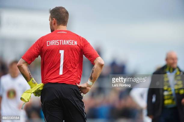 Goalkeeper Jesper Christiansen of Vendsyssel FF looks dejected after the Danish Alka Superliga Playoff match between Vendsyssel FF and AC Horsens at...