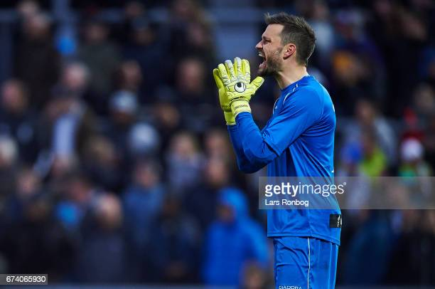 Goalkeeper Jesper Christiansen of Vendsyssel FF shouts during the Danish cup DBU Pokalen semfinal match between Vendsyssel FF and FC Copenhagen at...