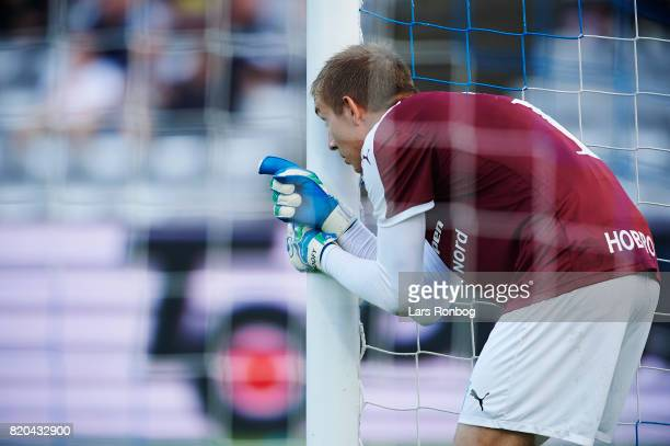 Goalkeeper Jesper Rask of Hobro IK gives instructions during the Danish Alka Superliga match between AGF Aarhus and Hobro IK at Ceres Park on July 21...