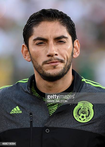 Goalkeeper Jesús Corona of Mexico during the friendly football match Mexico vs Ecuador at the LA Memorial Coliseum in Los Angeles on March 28 2015...