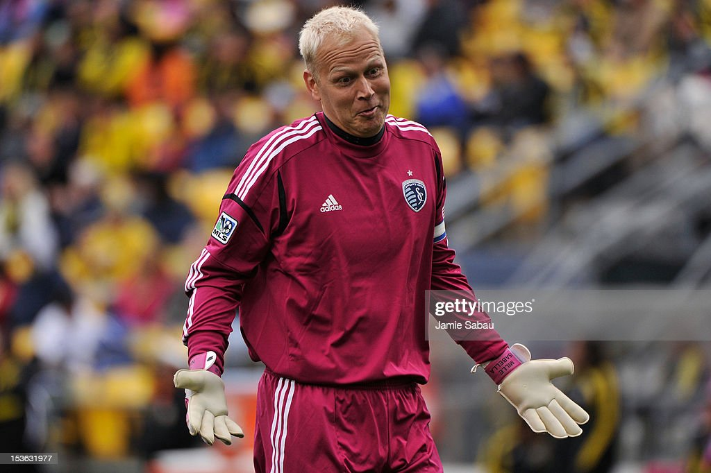Goalkeeper Jimmy Nielsen #1 of Sporting Kansas City reacts to taunting from the crowd during a game against the Columbus Crew on October 7, 2012 at Crew Stadium in Columbus, Ohio.
