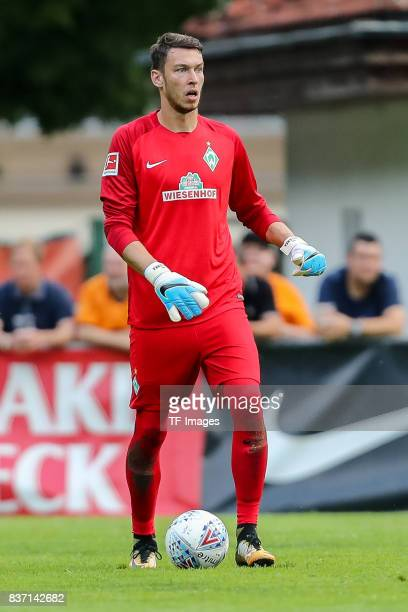 Goalkeeper Jiri Pavlenka of Bremen controls the ball during the preseason friendly between Werder Bremen and Wolverhampton Wanderers at Parkstadion...