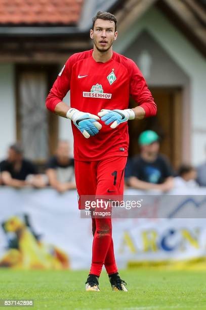 Goalkeeper Jiri Pavlenka of Bremen looks on during the preseason friendly between Werder Bremen and Wolverhampton Wanderers at Parkstadion Zell Am...