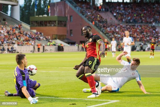 goalkeeper Jiri Pavlenka of Czech Republic Romelu Lukaku of Belgium Tomas Kalas of Czech Republicduring the friendly match between Belgium and Czech...