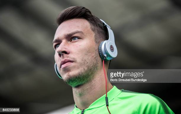 Goalkeeper Jiri Pavlenka of SV Werder Bremen looks on prior to the Bundesliga match between Hertha BSC and SV Werder Bremen at Olympiastadion on...