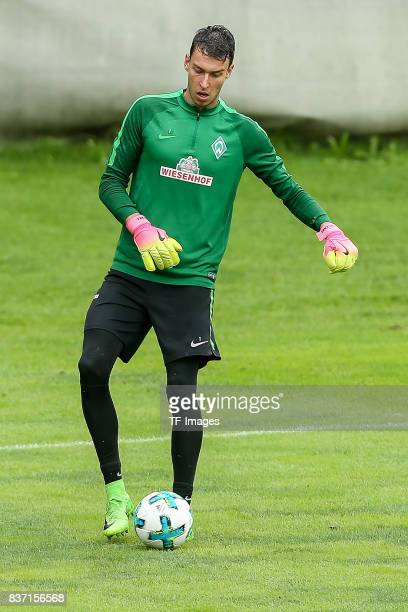 Goalkeeper Jiri Pavlenka of Werder Bremen controls the ball during the Training Camp of SV Werder Bremen on July 14 2017 in Zell am Ziller Austria