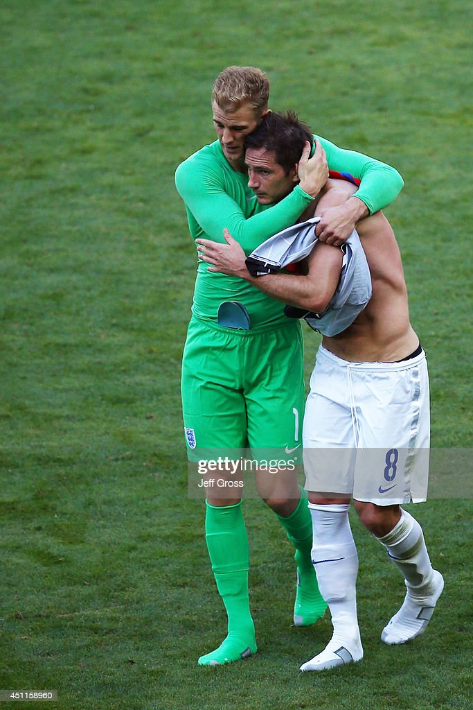 Goalkeeper Joe Hart of England hugs teammate Frank Lampard after a 0-0 draw during the 2014 FIFA World Cup Brazil Group D match between Costa Rica and England at Estadio Mineirao on June 24, 2014 in Belo Horizonte, Brazil.