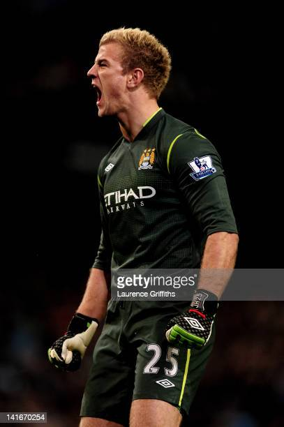 Goalkeeper Joe Hart of Manchester City celebrates during the Barclays Premier League match between Manchester City and Chelsea at the Etihad Stadium...
