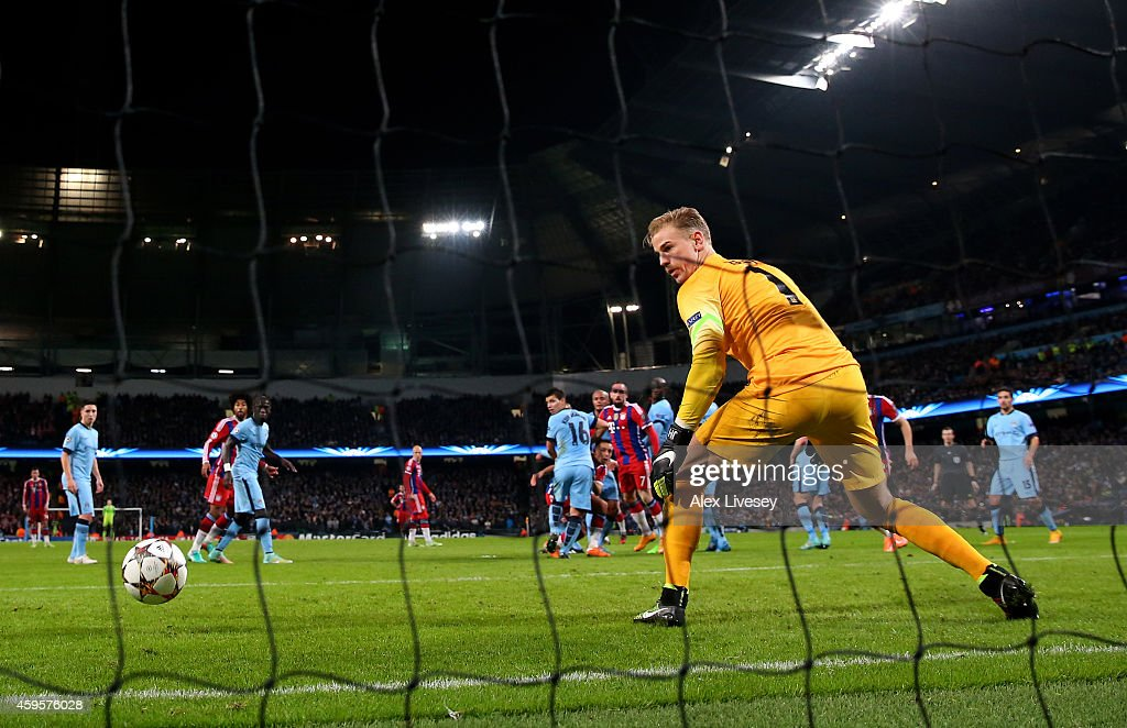 Goalkeeper Joe Hart of Manchester City is beaten by the free kick from Xabi Alonso of Bayern Muenchen during the UEFA Champions League Group E match...