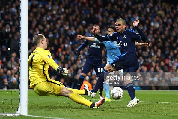 Goalkeeper Joe Hart of Manchester City saves the point blank shot from Pepe of Real Madrid CF during the UEFA Champions League Semi Final first leg...