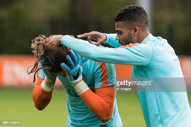 goalkeeper Joel Drommel of Netherland U23 Jeremiah St Juste of Netherland U23during a training session of Netherlands U21 at KNVB Campus on May 09...