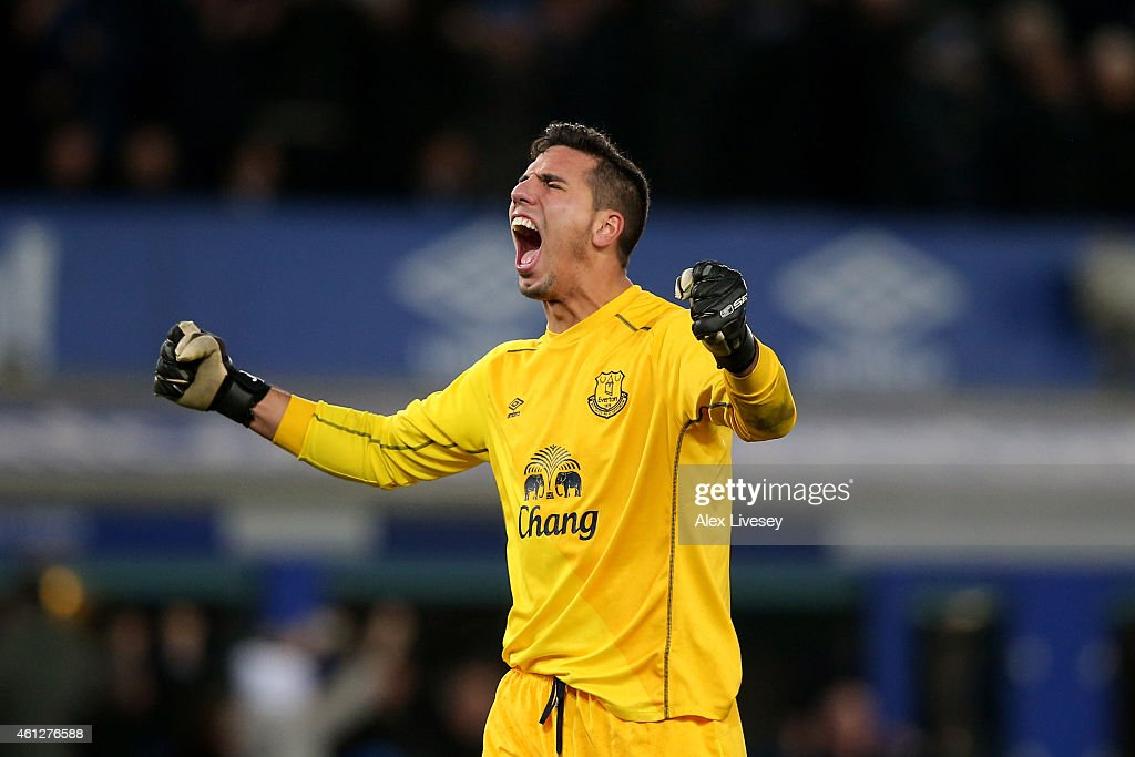Goalkeeper Joel Robles of Everton celebrates of Everton scores a goal to level the scores at 1-1 during the Barclays Premier League match between Everton and Manchester City at Goodison Park on January 10, 2015 in Liverpool, England.
