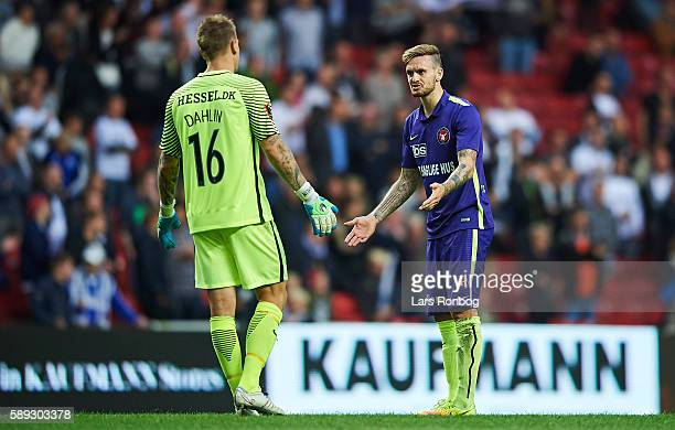 Goalkeeper Johan Dahlin and Kian Hansen of FC Midtjylland shows frustration during the Danish Alka Superliga match between FC Copenhagen and FC...