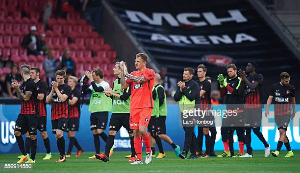 Goalkeeper Johan Dahlin of FC Midtjylland celebrates after the Danish Alka Superliga match between FC Midtjylland and Brondby IF at MCH Arena on...