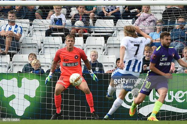 Goalkeeper Johan Dahlin of FC Midtjylland in action during the Danish Alka Superliga match between OB Odense and FC Midtjylland at TreFor Park on...