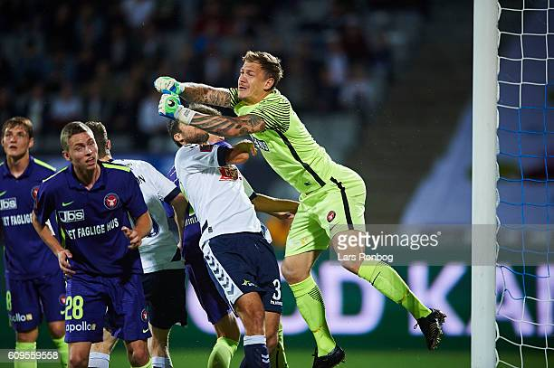 Goalkeeper Johan Dahlin of FC Midtjylland in action during the Danish Alka Superliga match between AGF Aarhus and FC Midtjylland at Ceres Park on...