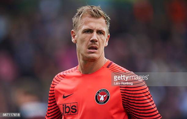 Goalkeeper Johan Dahlin of FC Midtjylland looks on during the Danish Alka Superliga match between FC Midtjylland and Brondby IF at MCH Arena on...