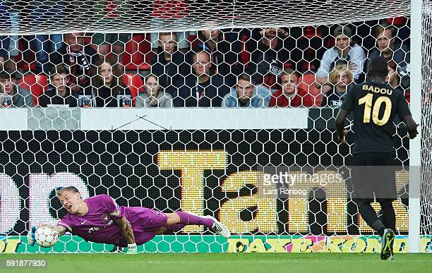 Goalkeeper Johan Dahlin of FC Midtjylland saves the ball during the UEFA Europa League playoff 1st leg match between FC Midtjylland and Osmanlispor...