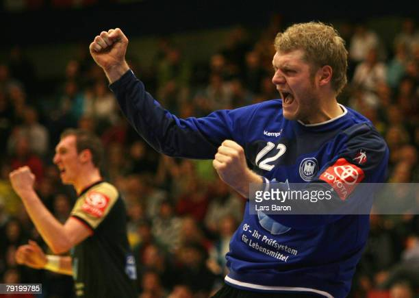 Goalkeeper Johannes Bitter of germany celebrates after a save next to Holger Glandorf during the Men's Handball European Championship main round...