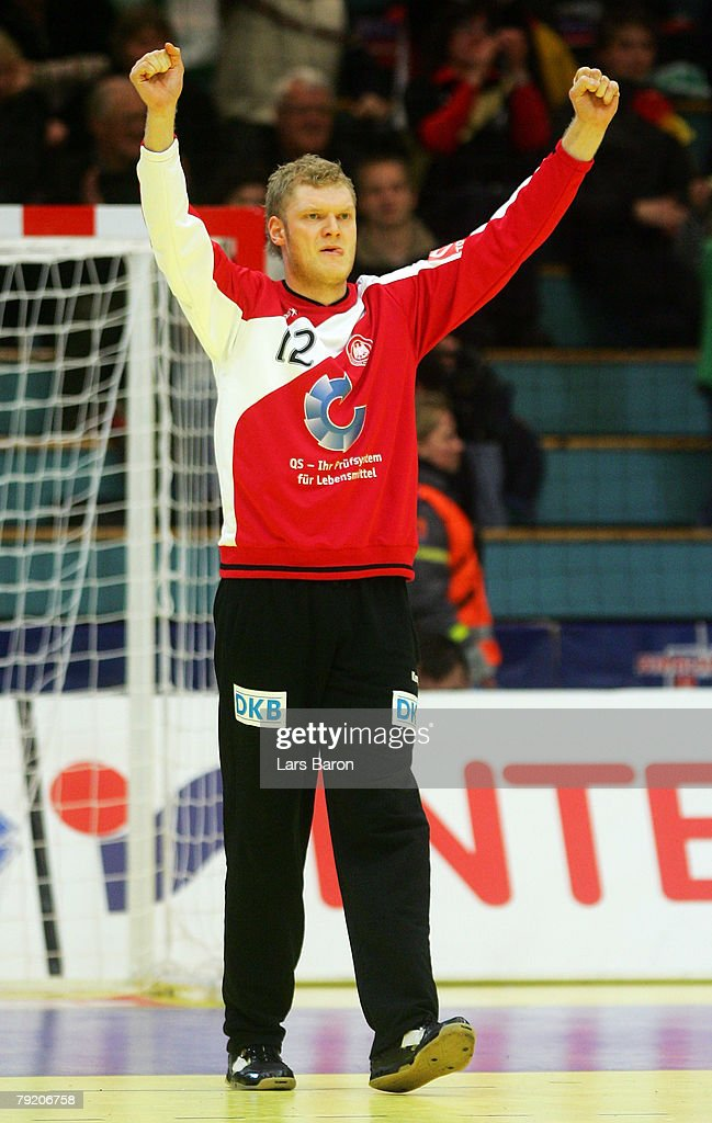 Goalkeeper Johannes Bitter of Germany celebrates during the Men's Handball European Championship main round Group II match between Germany and France at Trondheim Spektrum on January 23, 2008 in Trondheim, Norway.