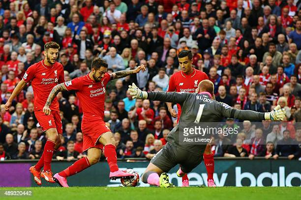 Goalkeeper John Ruddy of Norwich City faces Adam Lallana Danny Ings and Philippe Coutinho of Liverpool during the Barclays Premier League match...