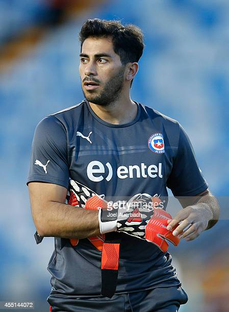 Goalkeeper Johnny Herrera of Chile warms up prior to the International Soccer friendly match against Haiti on September 9 2014 at Lockhart Stadium in...