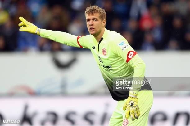 Goalkeeper Jonas Loessl of Mainz reacts during the Bundesliga match between TSG 1899 Hoffenheim and 1 FSV Mainz 05 at Wirsol RheinNeckarArena on...