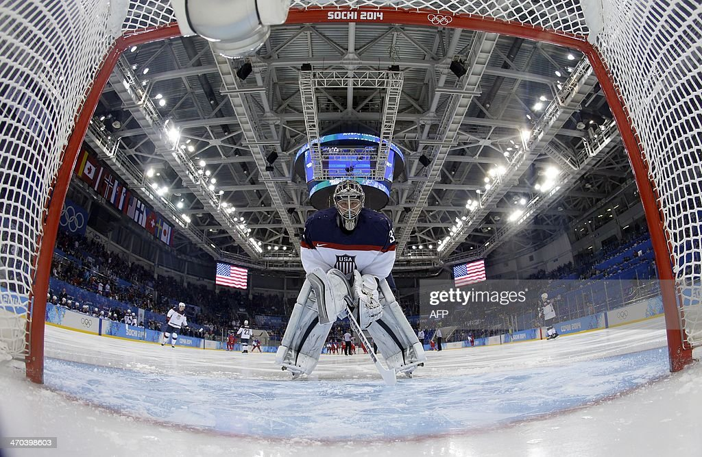 US goalkeeper Jonathan Quick concentrates before the Men's Ice Hockey Quarterfinals match between the USA and the Czech Republic at the Shayba Arena during the Sochi Winter Olympics on February 19, 2014.