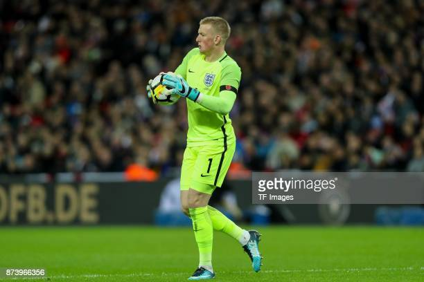 Goalkeeper Jordan Pickford of England controls the ball during the international friendly match between England and Germany at Wembley Stadium on...