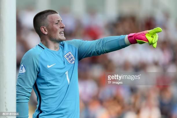 Goalkeeper Jordan Pickford of England gestures during the 2017 UEFA European Under21 Championship match between Slovakia and England on June 19 2017...
