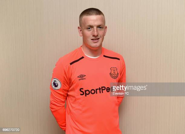 Goalkeeper Jordan Pickford poses as he signs for Everton at the Binkowski Hotel on June 14 2017 in Kielce Poland