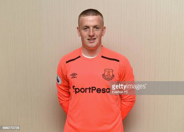 Goalkeeper Jordan Pickford poses as he signs for Everton at the Binkowski Hotel on June 14 2017 in Kielce Poland