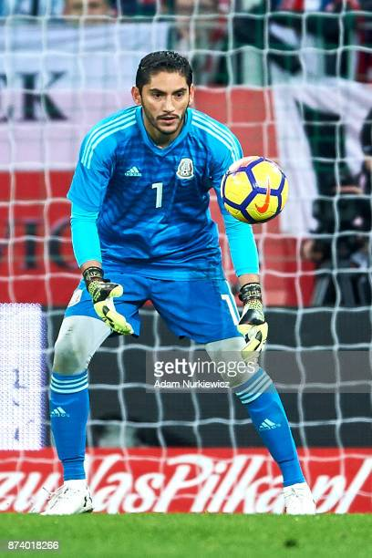 Goalkeeper Jose Jesus Corona of Mexico catches the ball during the International Friendly match between Poland and Mexico at Energa Arena Stadium on...