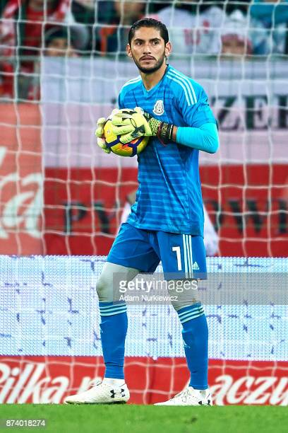 Goalkeeper Jose Jesus Corona of Mexico holds the ball during the International Friendly match between Poland and Mexico at Energa Arena Stadium on...
