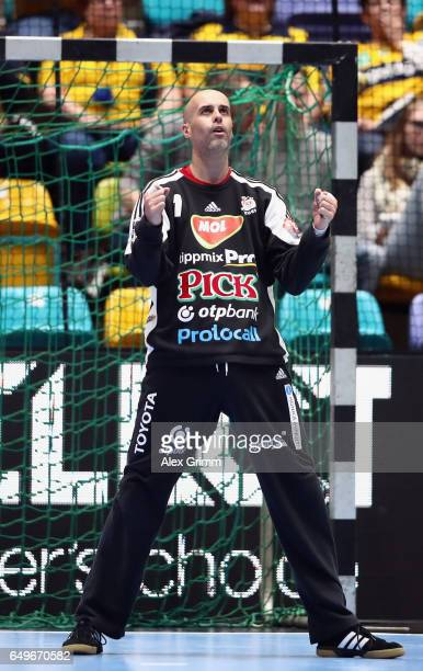 Goalkeeper Jose Manuel Sierra of Szeged reacts during the EHF Champions League match between Rhein Neckar Loewen and MolPick Szeged at FraportArena...