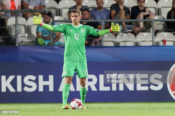 Goalkeeper Julian Pollersbeck of Germany gestures during the UEFA European Under21 Championship Group C match between Germany and Denmark at Krakow...