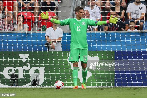 Goalkeeper Julian Pollersbeck of Germany gestures during the UEFA European Under21 Championship Semi Final match between England and Germany at Tychy...