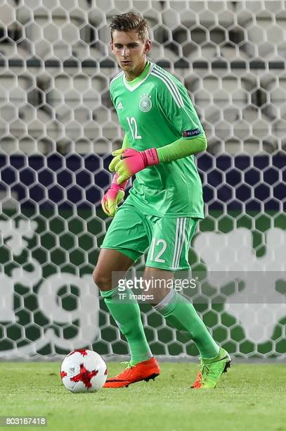 Goalkeeper Julian Pollersbeck of Germany in action during the UEFA European Under21 Championship Group C match between Germany and Denmark at Krakow...