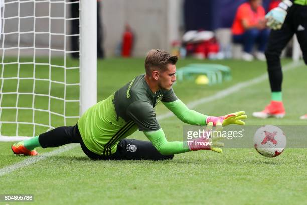 Goalkeeper Julian Pollersbeck of Germany in action during the UEFA European Under21 Championship Semi Final match between England and Germany at...