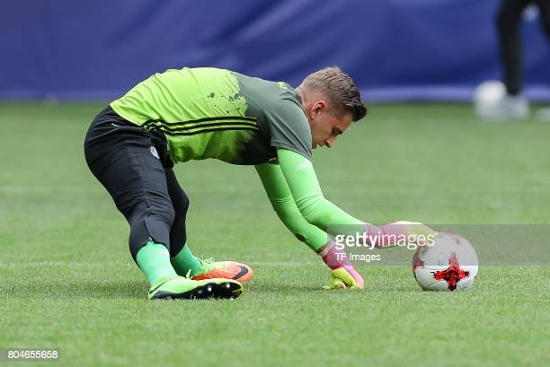 Goalkeeper Julian Pollersbeck of Germany warm up during the UEFA European Under21 Championship Semi Final match between England and Germany at Tychy...