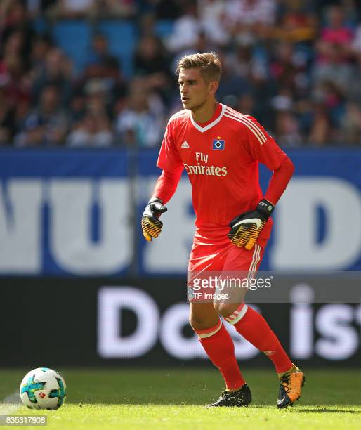 Goalkeeper Julian Pollersbeck of Hamburg controls the ball during the preseason friendly match between Hamburger SV and Espanyol Barcelona on August...
