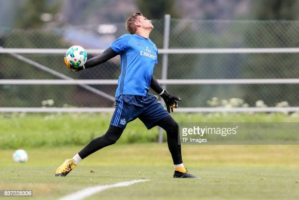 Goalkeeper Julian Pollersbeck of Hamburg controls the ball during the Training Camp of Hamburger SV on July 22 2017 in Laengenfeld Austria