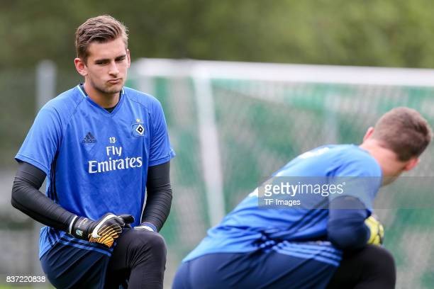 Goalkeeper Julian Pollersbeck of Hamburg looks on during the Training Camp of Hamburger SV on July 22 2017 in Laengenfeld Austria