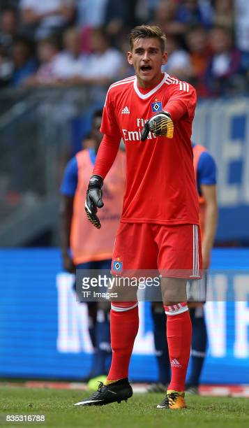 Goalkeeper Julian Pollersbeck of Hamburg looks on duringthe preseason friendly match between Hamburger SV and Espanyol Barcelona on August 6 2017 in...