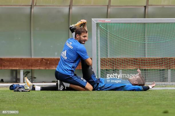 Goalkeeper Julian Pollersbeck of Hamburg ont he ground during the Training Camp of Hamburger SV on July 23 2017 in Laengenfeld Austria